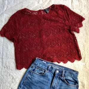 LACE DARK RED BLOUSE